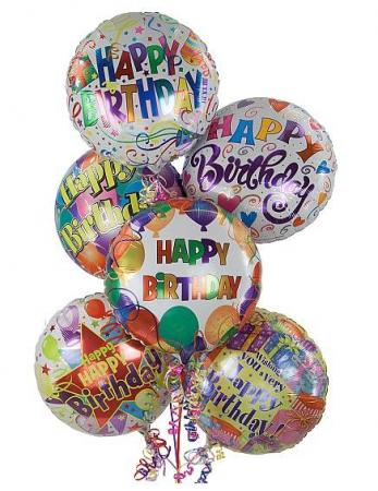 Birthday Balloon Bouquet 5 Mylar Assorted Balloons