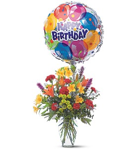 Birthday Balloon and Bouquet     TF42-1 Fresh Floral Vase