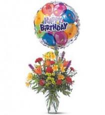 Birthday Balloon Bouquet  Fresh Arrangement with Balloon