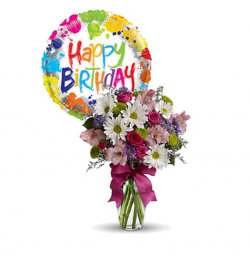 Birthday Bash Mixed Spring Bouquet with Balloon