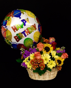 Birthday Basket Mixed Floral Design in Plainview, TX | Kan Del's Floral, Candles & Gifts