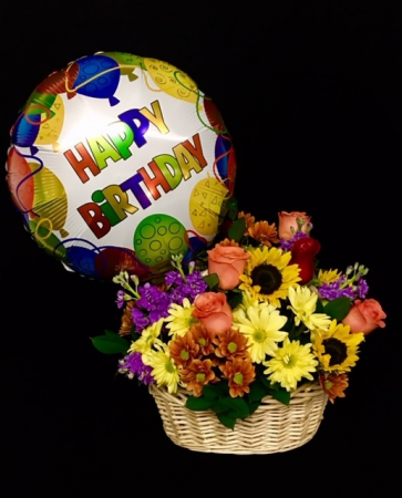 Birthday Basket Mixed Floral with Balloon
