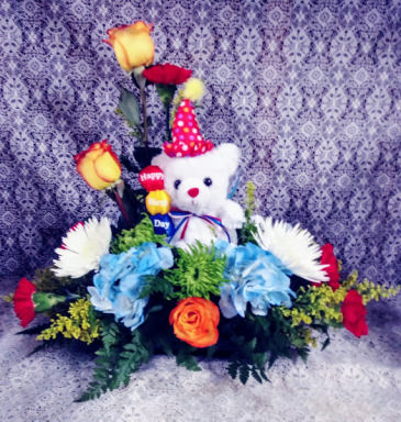 Birthday Bear Floral Design