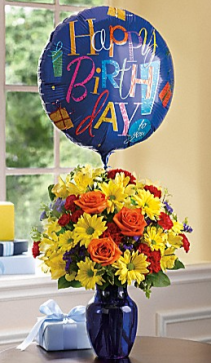 Birthday Bouquet with Mylar Balloon Arrangement