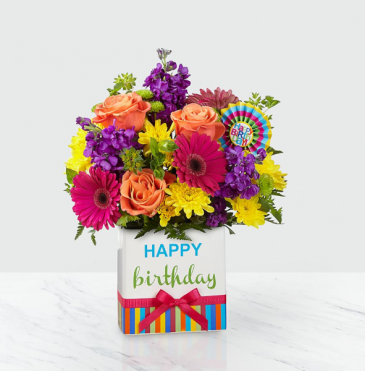 Birthday Brights™ Bouquet Vase Arrangement