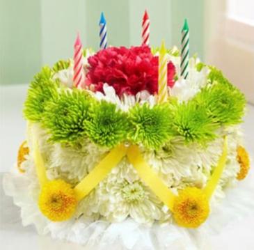 Birthday Cake  Bright color flowers