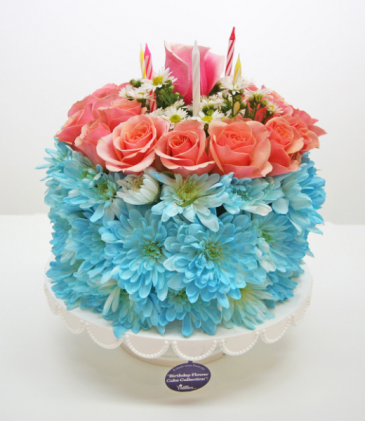 BIRTHDAY CAKE OF FLOWERS ROUND