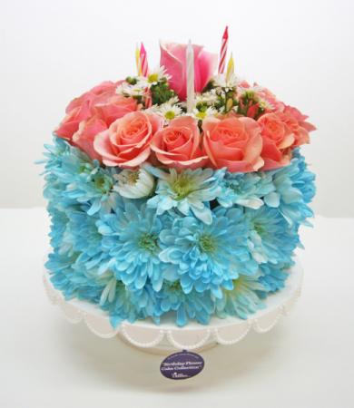 BIRTHDAY CAKE OF FLOWERS ROUND