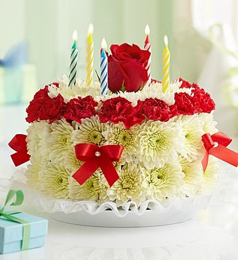 Birthday Cake of Fresh Flowers Floral Arrangement