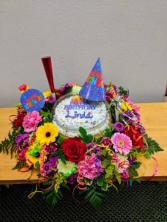 BIRTHDAY CAKE WISHES DELUXE FLOWERS AND CAKE!