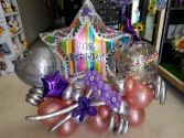 Birthday Chrome Comfetti Balloon Bouquet **NEED TO ORDER 2 DAYS BEFORE DELIVERY DATE