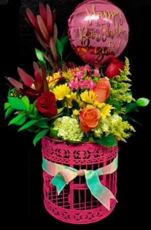 Birthday Floral Birdcage Mixed Floral with Roses in Plainview, TX   Kan Del's Floral, Candles & Gifts