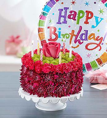 Birthday Flower Cake Arrangement And A Balloon