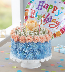 Birthday Flower Cake - Coastal Arrangement