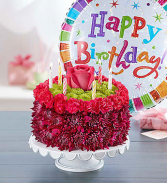 Birthday Flower Cake® - Crimson Arrangement