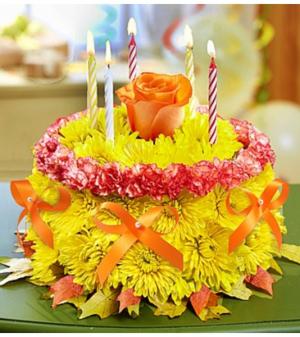 Birthday Flower Cake® for Fall Arrangement in Croton On Hudson, NY | Cooke's Little Shoppe Of Flowers