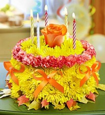 Birthday Flower Cake® for Fall Flower Arrangement