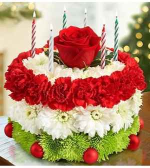 Birthday Flower Cake® for The Holidays Arrangement in Croton On Hudson, NY | Cooke's Little Shoppe Of Flowers