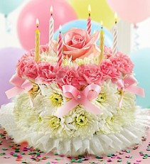 Birthday Flower Cake® Pastel Fresh Arrangement