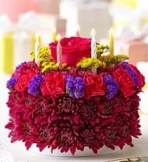 Birthday Flower Cake® Purple Fresh Arrangement