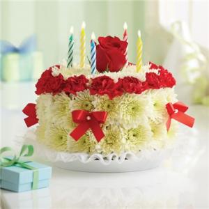 Birthday Flower Cake® - Red & White Arrangement in Croton On Hudson, NY   Cooke's Little Shoppe Of Flowers