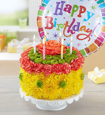 Birthday Flower Cake - Sun-kissed Arrangement
