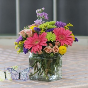Birthday Gerbera Gala Cube Arrangement
