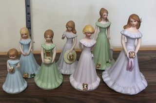 Birthday girl figurines  Assorted ages as shown only