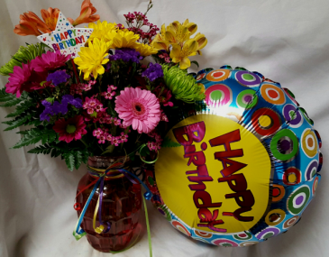 Birthday Pop of Color bouquet...bright seasonal Flowers arranged in a Vase with birthday pic and Happy Birthday Mylar.