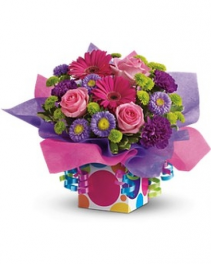 Birthday Present  Hot pink green and purple assorted flowers/ boxes