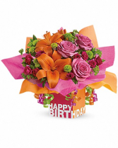 Birthday Present Hot pink,orange and green assorted flowers/boxes