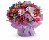 Birthday Present pink and purple assorted flowers and boxes
