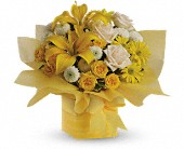 Birthday Present yellow and creme assorted flowers and boxes