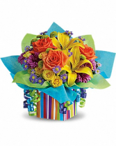 Birthday Present Yellow orange and purple assorted flowers/boxes
