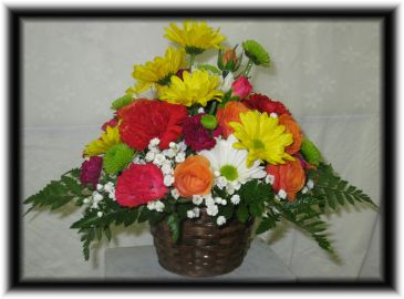 BIRTHDAY SURPRISE Fresh Mixed Basket by Buds 'n Bows