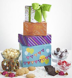 Birthday Sweets Tower Gift Basket in Tulsa, OK | Absolutely Flowers & Tulsa Gift Baskets