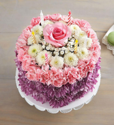 Birthday wishes flower cake All-around, 3-D cake-shaped floral arrangement