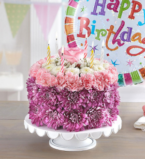 BIRTHDAY WISHES FLOWER CAKE (balloon included)  in Dearborn, MI | LAMA'S FLORIST