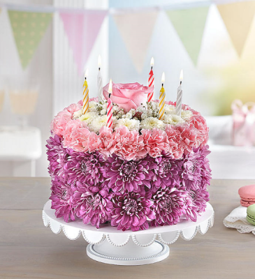 Birthday Wishes Flower Cake Pastel 3D Birthday