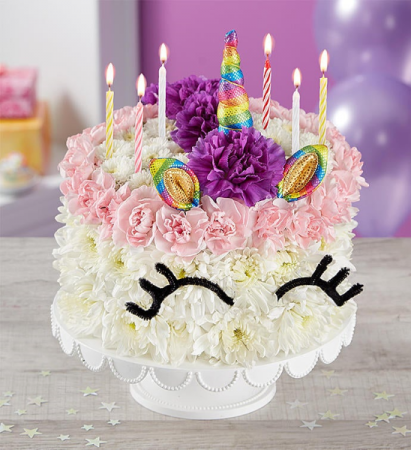Admirable Birthday Wishes Flower Cake Unicorn 3D Birthday In Las Vegas Nv Funny Birthday Cards Online Sheoxdamsfinfo