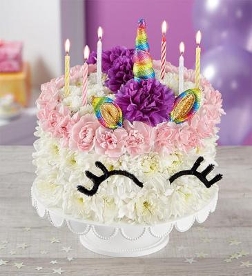 Birthday Wishes Flower Cake® Unicorn birthday flowers