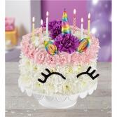 Birthday Wishes Flower Cake Unicorn Floral Arrangement