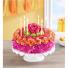 Birthday Wishes Flower Cake Vibrant Floral Arrangement