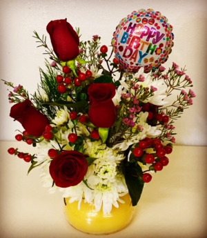Birthday Floral and Candle Duo Jar Candle with Mix Floral on Top. in Plainview, TX | Kan Del's Floral, Candles & Gifts