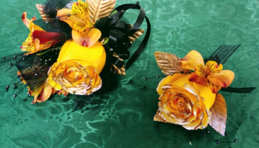 Black and Gold  Prom Corsage and Boutonniere Set