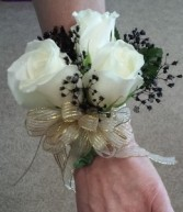 Black and Gold with Streamers Corsage