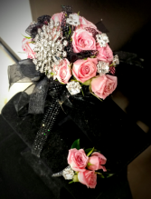Black and Pink Bling Wrislet Corsage