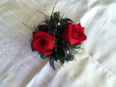 Black and Red  Corsage