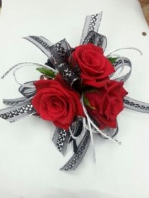Black and Red  Wrist Corsage