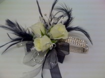 Black and White Feather Corsage